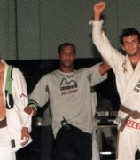 Celebrating a challenge match victory when he was a brown belt.